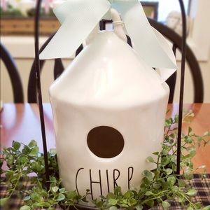 RAE DUNN Artisan Magenta Ceramic CHIRP Birdhouse